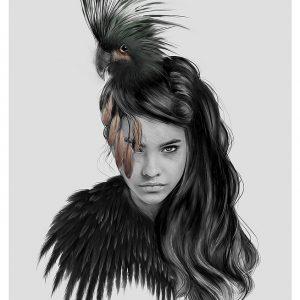 signert kunstplakat av linn wold little bird
